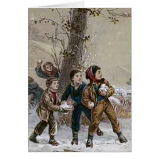 Victorian Christmas Snowball Fight Card