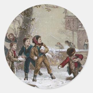 Victorian Christmas Snowball Fight Classic Round Sticker