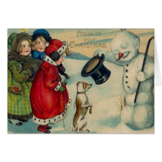 Victorian Christmas Snowman And Dog Christmas Card at Zazzle