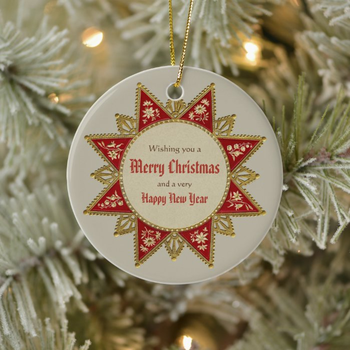 Victorian Christmas star Gold red vintage CC0963 Ceramic Ornament