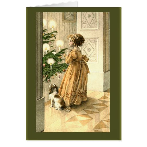 Victorian Christmas Tree and LIttle Girl Cards