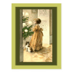 Victorian Christmas Tree and LIttle Girl Cards Postcard