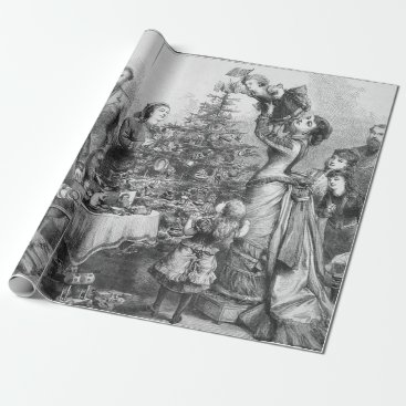 Christmas Themed Victorian Christmas Tree Star Wrapping Paper