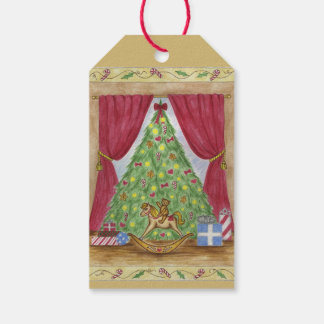 Victorian Christmas Tree Teddy Bear Gift Tags