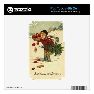 Victorian Christmas Vintage Retro Art Skin For iPod Touch 4G