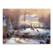 Victorian Christmas Winter Scene Postcard