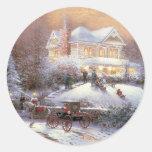 Victorian Christmas Winter Scene Round Stickers