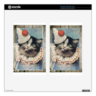 Victorian Circus Clown Cat Blue Hat Decal For Kindle Fire