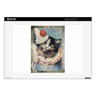 Victorian Circus Clown Cat Blue Hat Decals For Laptops