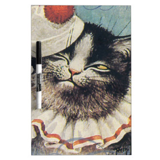 Victorian Circus Clown Cat Blue Hat Dry Erase Board
