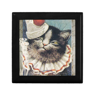 Victorian Circus Clown Cat Blue Hat Jewelry Box