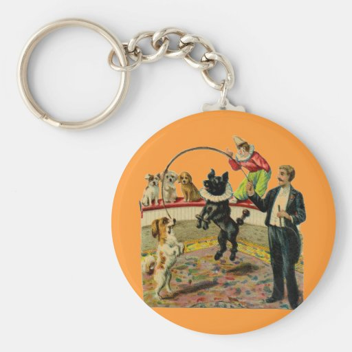 Victorian Circus Dogs, Trainer Clown Basic Round Button Keychain