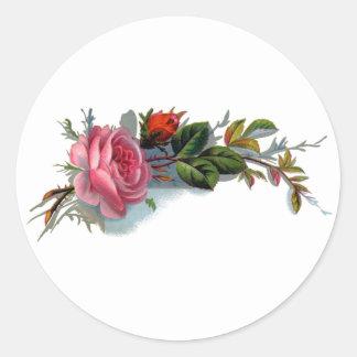 Victorian color de rosa y del brote rosado pegatina redonda