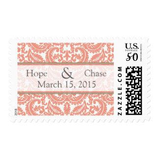 Victorian Coral Damask Wedding Stamp