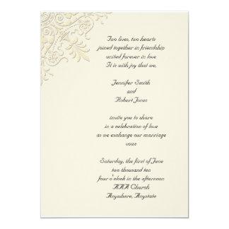Victorian Corner Champagne Wedding Invitation
