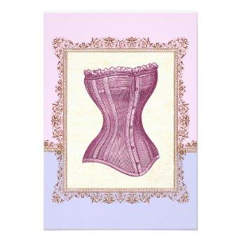 Victorian Corset Lingerie Vintage Bridal Shower Custom Announcement