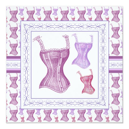 Victorian Corset Purple Vintage Bridal Shower Card