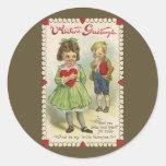 Victorian cortado con tintas, niños tímidos del pegatina redonda