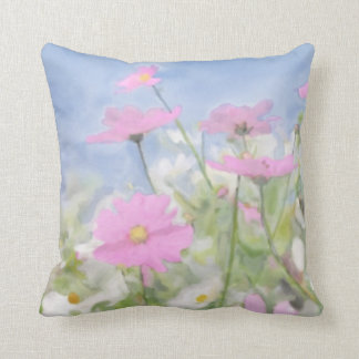 Victorian Cottage Garden Watercolor Throw Pillow