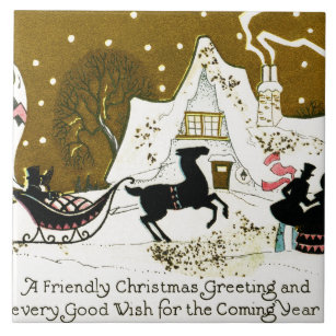victorian country christmas ceramic tile