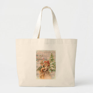 Victorian Couple Christmas Winter Large Tote Bag