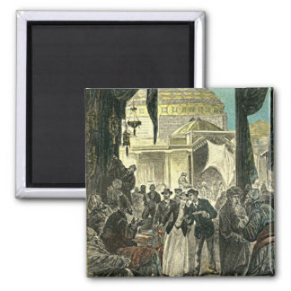 Victorian Couple Explores the Market Illustration 2 Inch Square Magnet