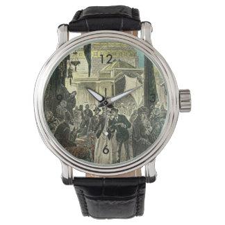 Victorian Couple Explores the Market Illustration Wrist Watch