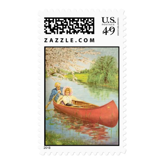 Victorian Couple Floating in Red Canoe Postage