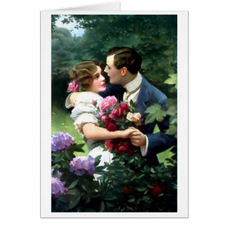 Victorian Couple in the Garden Postcard