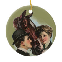 Victorian Couple Loving Horse Christmas Ornament