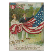 Victorian Couple Raising US Flag