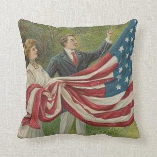 Victorian Couple Raising US Flag Memorial Day Throw Pillows