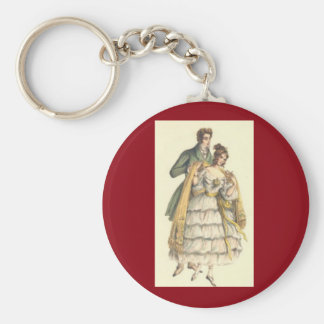 Victorian Couple Red Vintage Christmas Keychain