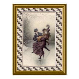 Victorian couple skating postcard