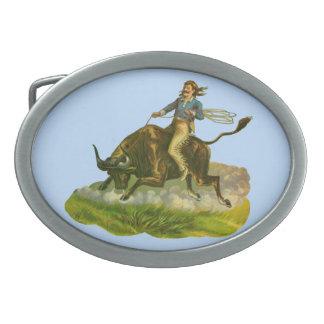 Victorian cowboy bull rider belt buckle