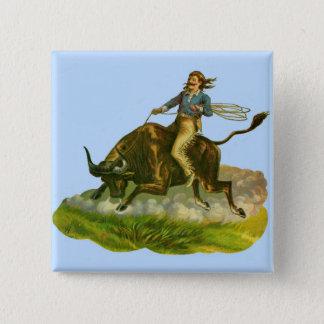 Victorian cowboy bull rider button