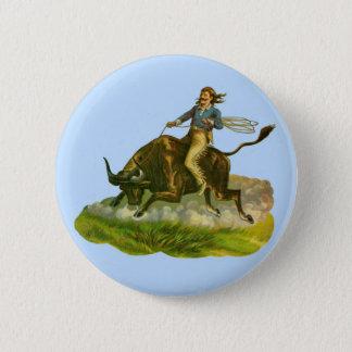 Victorian cowboy bull rider pinback button