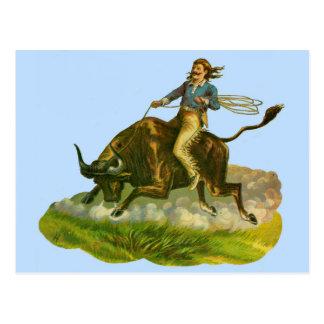 Victorian cowboy bull rider postcard