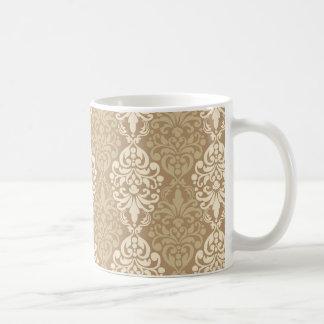 Victorian Cream Gold Vintage Damask Lace Pattern Coffee Mug