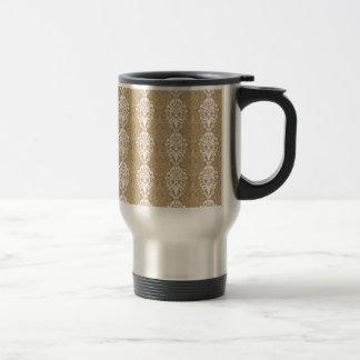 Victorian Cream Gold Vintage Damask Lace Pattern Travel Mug