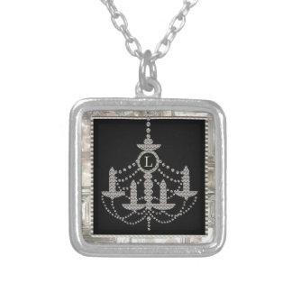 Victorian Crystal Chandelier Wedding Monogram Silver Plated Necklace