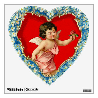 Victorian Cupid and Floral Heart Wall Graphic