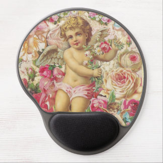 Victorian Cupid and Roses Floral Gel Mouse Pad