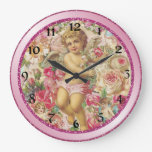 Victorian Cupid and Roses Floral Wallclocks