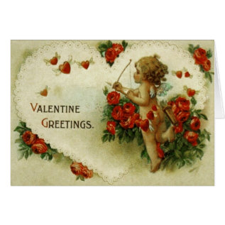 Victorian Cupid & Roses Valentine's Day Card at Zazzle