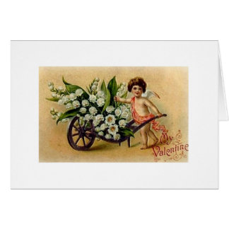 Victorian Cupid with Flowers Valentine's Day Card