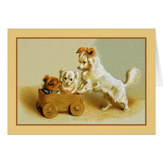 Victorian cute small dogs in wooden toy cart card