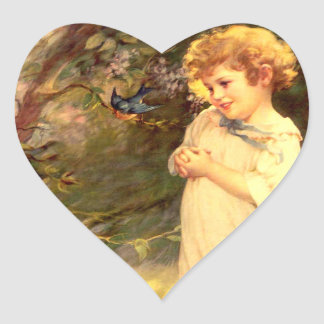 Victorian cutie with birds heart sticker