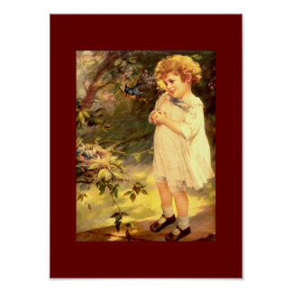 Victorian cutie with birds poster