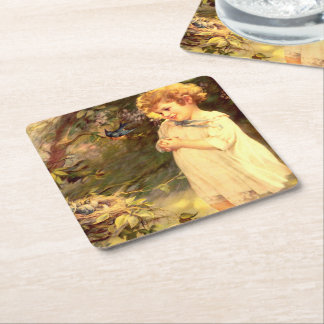 Victorian cutie with birds square paper coaster